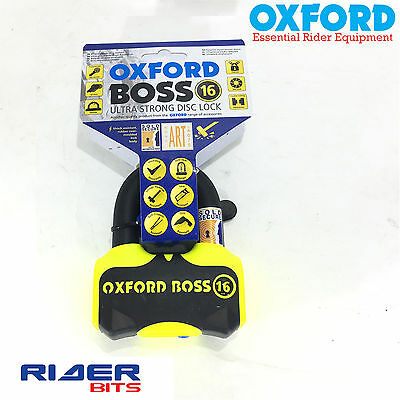 Oxford Disclock Boss 16 Lk316 U-Lock D-Padlock Shackle Yellow Motorcycle Scooter