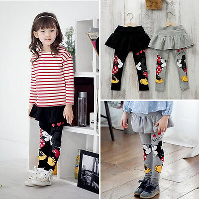 Neuf Bébé Fille Vêtements Jupe Pantalon Cartoon Mickey Minnie Kiss Legging 2-7Y