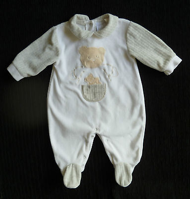 Baby clothes BOY GIRL 3-6m NEW white/grey/coffee bears velour babygrow/sleepsuit
