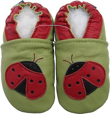 ✿ CHAUSSONS BEBE CUIR SOUPLE CAROZOO NEUF (cocinelle) ✿