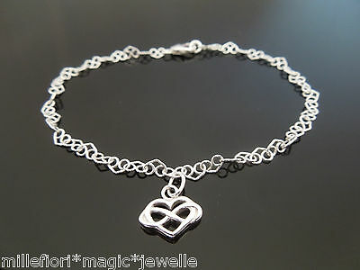 3.5mm Sterling Silver Heart Link Chain Bracelet Or Anklet ~ Infinity Heart Charm