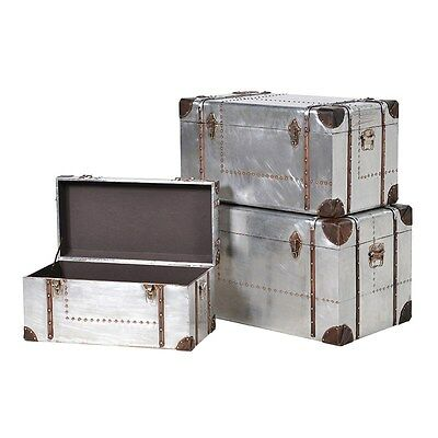 Industrial Aluminium Style Storage Chest / Blanket Box / Trunk / Table