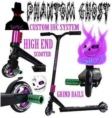PHANTOM GHOST SCOOTERS 360 Fixed Bars KIDS & ADULTS SCOOTERS GREEN PEGs CUSTOM