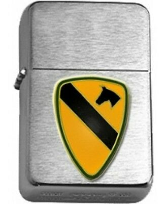 US Army 1st Cavalry Brushed Chrome  Star Lighter