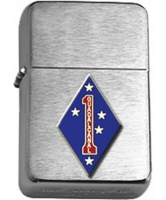 US Marine Corps 1st Marine Division Brushed Chrome Star Lighter