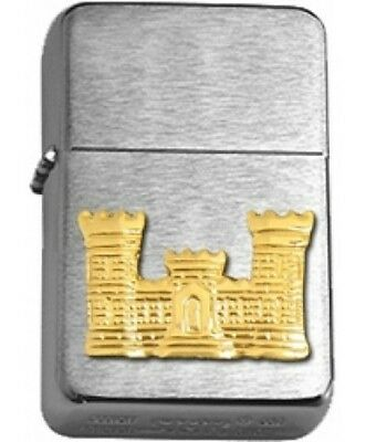 US Army Corps of Engineers Gold Insignia Brushed Chrome Star Lighter
