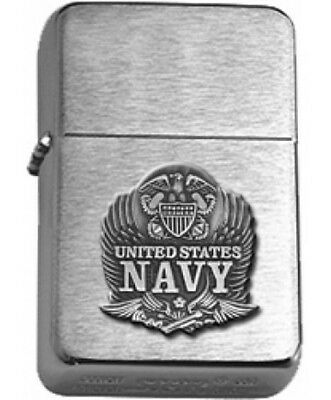 US Navy Eagle Insignia Brushed Chrome Star Lighter