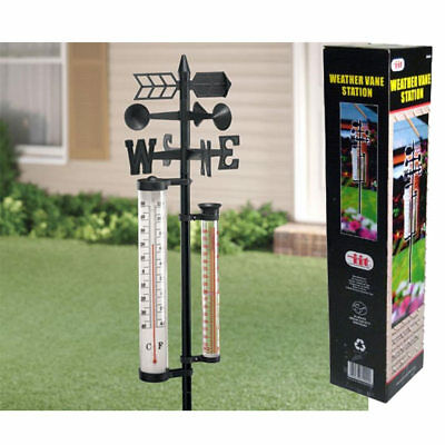 "Weather Vane Station 56"" Tall W/ Poll Thermometer Rain Gauge Wind Spinner Meter"