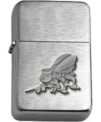 US Navy Seabees Cutout Insignia Brushed Chrome Star Lighter