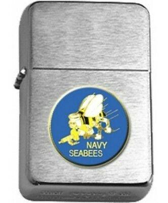 US Navy Seabees Emblem Insignia Brushed Chrome Star Lighter