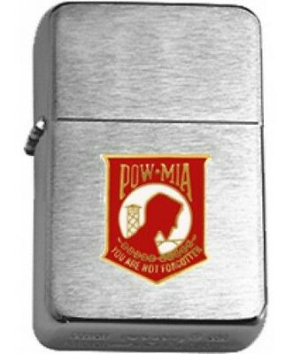 POW MIA Red Insignia Brushed Chrome Star Lighter