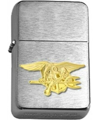 US Navy SEAL Gold Insignia Brushed Chrome Star Lighter