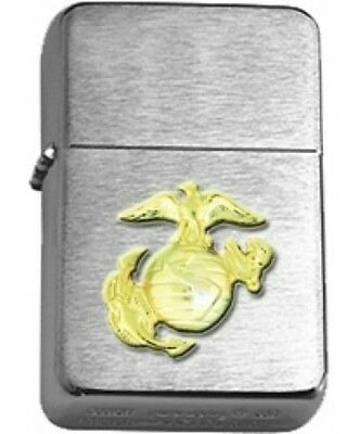 US Marine Corps Eagle, Globe, Anchor Gold Insignia Brushed Chrome Star Lighter
