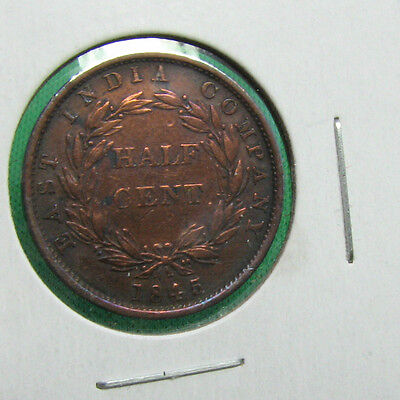 1845 East India company  half cent very nice coin rotated die