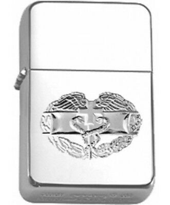 US Army Combat Medic Bright Nickel Badge Polished Chrome Star Lighter