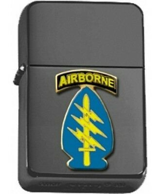 US Army Airborne Special Forces Insignia Black Matte Star Lighter