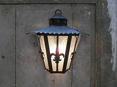 French vintage wall light sconce wrought iron glass c.1950 - 60 nicely detailed