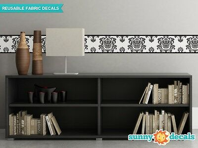 """Damask Wall Border Fabric Wall Decal - Set Of Two 25"""" x 8"""" Sections - 6 Color Op"""
