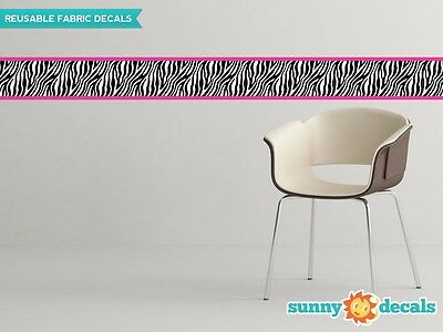 """Zebra Wall Border Fabric Wall Decal - Set Of Two 25"""" x 6"""" Sections - 4 Color Opt"""