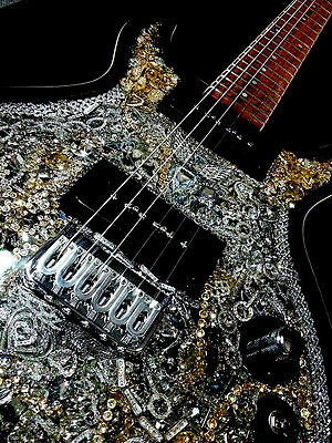 One of a Kind Collectible Swarovski O'Donnell Custom Electric Guitar The Swan