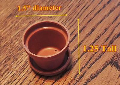 "MINIATURE FLOWER POT & SAUCER PLANTER for DOLLHOUSE or FAIRY GARDEN 1.5"" x 1.25"""