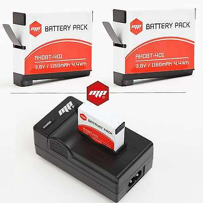 2 x batteries + chargeur pour GoPro hero 4 - MP EXTRA®