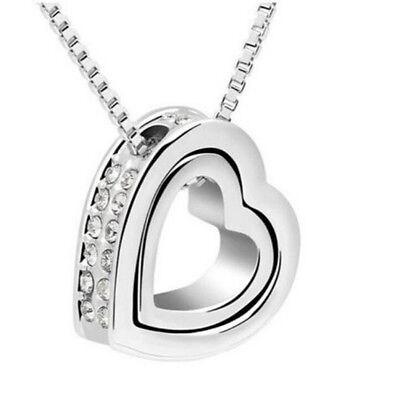 Heart NEW Jewelry Womens Silver Plated Necklace Crystal Fashion Chain Pendant