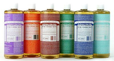 Dr Bronners Liquid castle soap 946 ml  18 uses hemp  11 scents! BIG BOTTLE