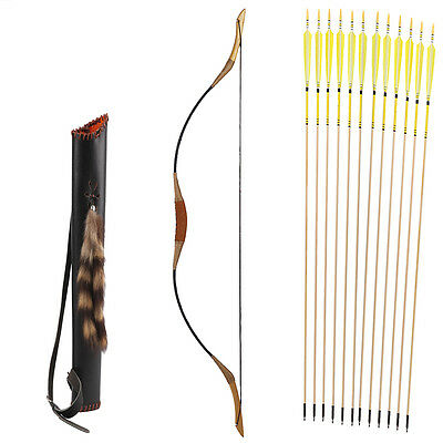 12 Yellow arrows Nice Quiver Hungarian style hunting 20-80LBS Recurve longbow
