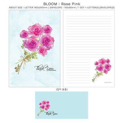 1set Pink Rose Flower Bloom Letter - 4sh Writing Stationery Paper 2sh Envelope