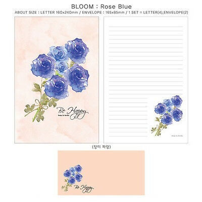 1set Blue Rose Flower Bloom Letter - 4sh Writing Stationery Paper 2sh Envelope