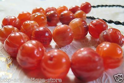 Big Rare 23 Old Orange Carnelian Stone Carved Melon Pumpkin Beads Necklace Nepal