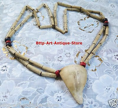 Antique 2 Strand Conch Shell Glass Beads Necklace Pendant Nagaland Tibet Nepal • CAD $118.64