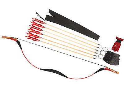 20-80lb Archery Red Snakeskin Recurve Longbow Set + 6 Wood Arrows + Quiver