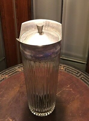 """Antique Glass 10"""" Container Decanter Metal Lid Barware Barber"""
