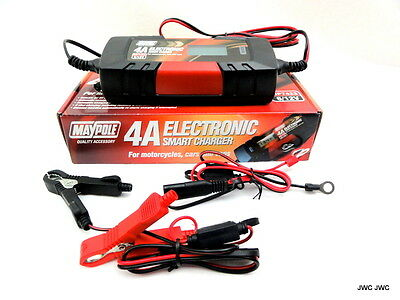 Electronic 4 AMP Smart Battery Charger Cars,Vans,Motorbikes With Addntl Aux