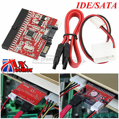 UK 3.5 IDE to SATA OR SATA to IDE ATA100/133 HDD Converter Adapter + Cables PC