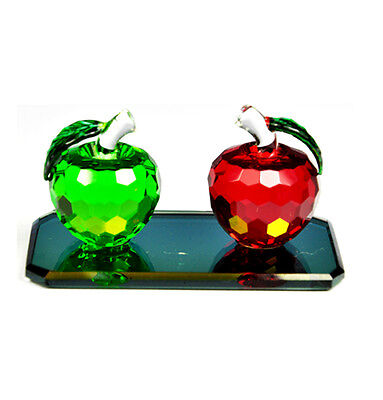 Apple Crystal Glass Red & Green Ornament With Glass Stand Paperweight Gift