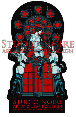 Angel and Demon Lowbrow Art Pinup Girls Studio Noire Large Vinyl Sticker
