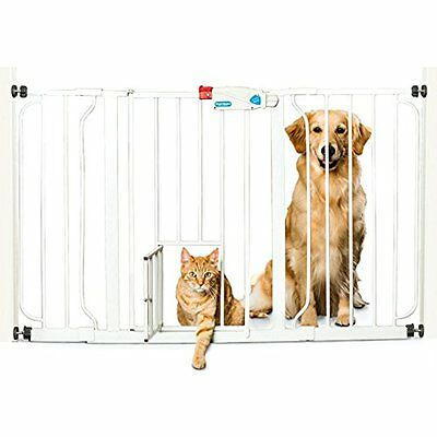 Extra Wide Baby Safety Gate W/ Pet Door Pressure Mounted Baby Child Toddler