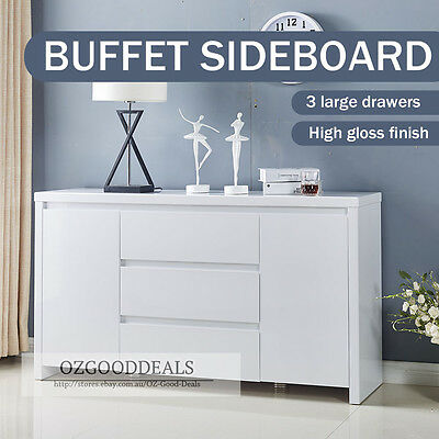 TINA Designer Buffet Sideboard Cabinet Gloss White Finish 2 Door 3 Drawer 4037WH