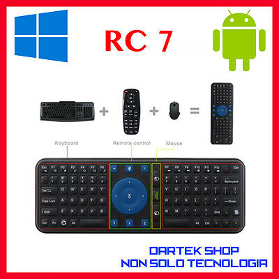 Air Mouse  RC 7 2.4 G FLY Tastiera Wireless Telecomando per Android Smart TV PC