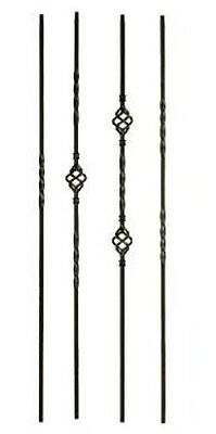 Iron Balusters Stair Parts Iron Spindles Twists, Baskets, and Scrolls Flat Black