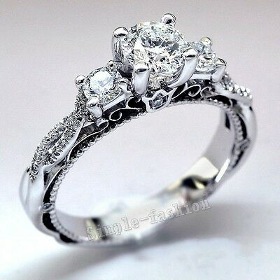 Vintage Jewelry Women White sapphire Cz 925 Silver Engagement Wedding Band Ring
