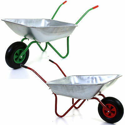 "100Kg 65L Heavy Duty Galvanised Wheelbarrow 12"" Pneumatic Inflatable Tyre Garden"