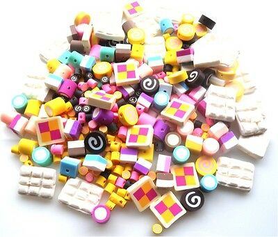 340 Beads Mixed Lots - Cakes, Sweets, With Polymer Clay Fimo Fast Free Shipping