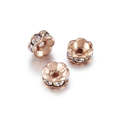 200pcs Brass Rhinestone Spacer Beads Rose Gold Metal Color Rondelle Crystal