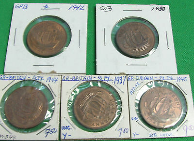 Great Britain  1937 1938 1942 1944 1945  half penny  AU +  tot UNC