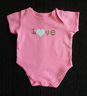 Baby clothes GIRL 0-3m NEW! mid-pink love short sleeved bodysuit/top SEE SHOP!