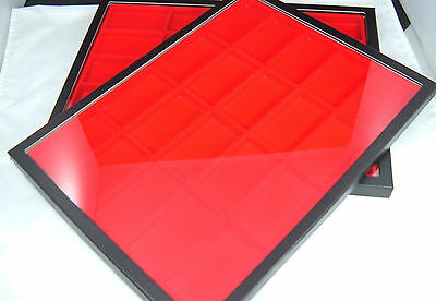 two jewelry display case riker mount display box shadow box 12X16 red divided 20